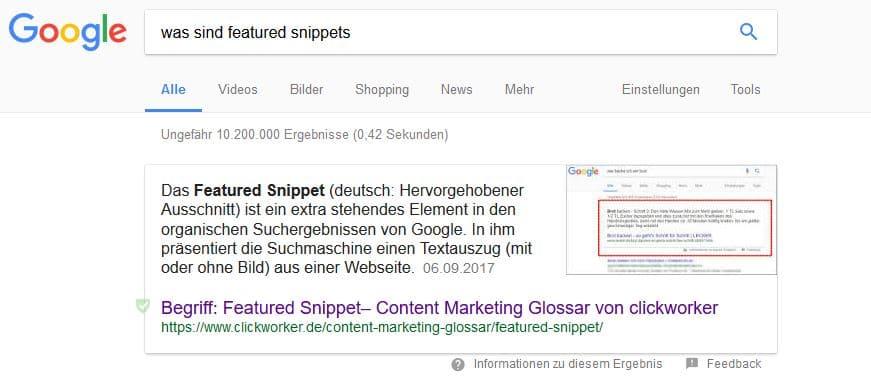 Screenshot von Google zur Suche featured snippet