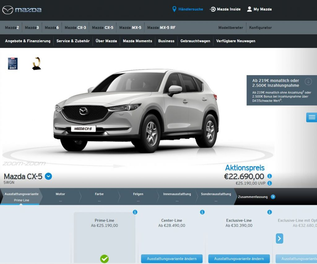 Screenshot Mazda-Konfigurator CX5
