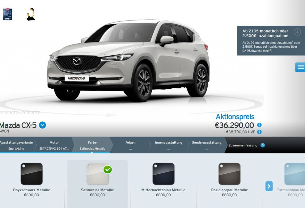 Farbauswahl im Mazda-Konfigurator