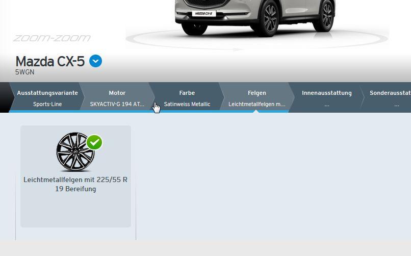 Felgenauswahl im Mazda-Konfigurator