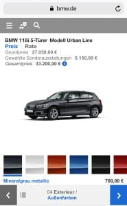 BMW Mobil Fahrzeugansicht