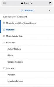 BMW Mobiles Menü