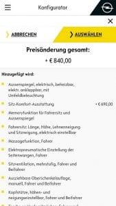 Opel Konfigurator: Aufpreis 150€ plötzlich 840 Euro