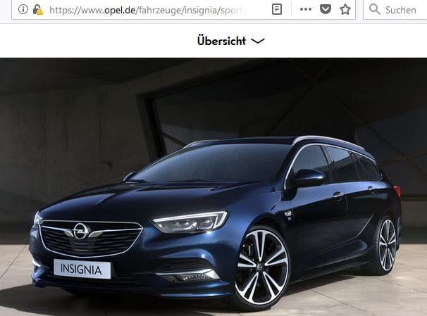 Startbildschirm des Opel-Konfigurators