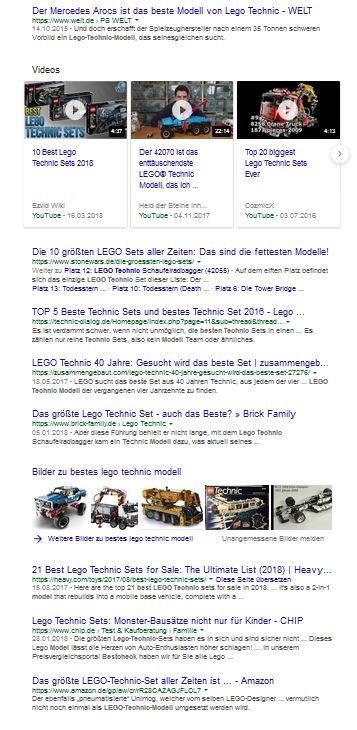 """Google Ergebnisse zur Suchphrase: """"bestes lego technic modell"""" am 28.06.2018"""