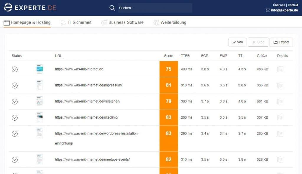 Experte.de PageSpeed Test anhand von WMI