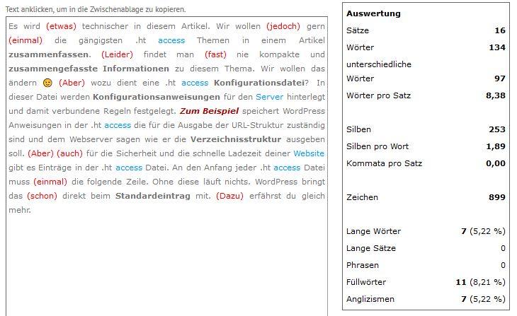 Schreiblabor.com Textanalyse