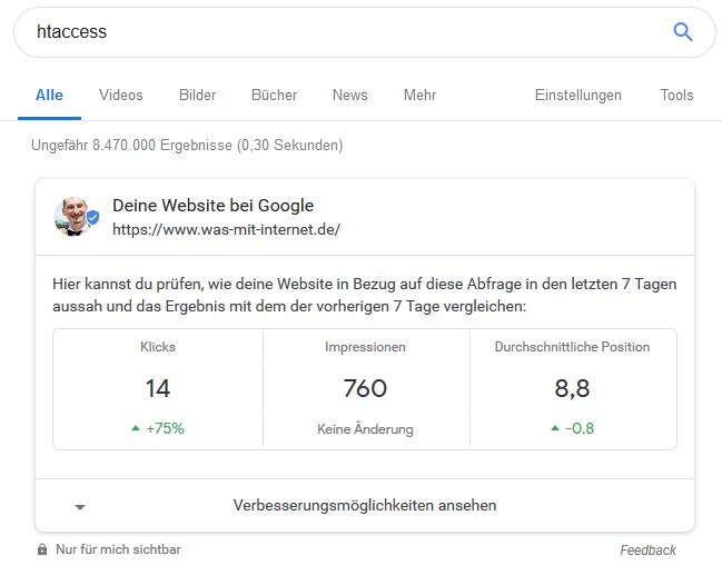 Search Console im Chrome Browser